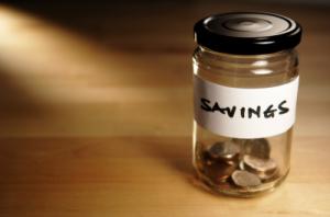 savings jar with money