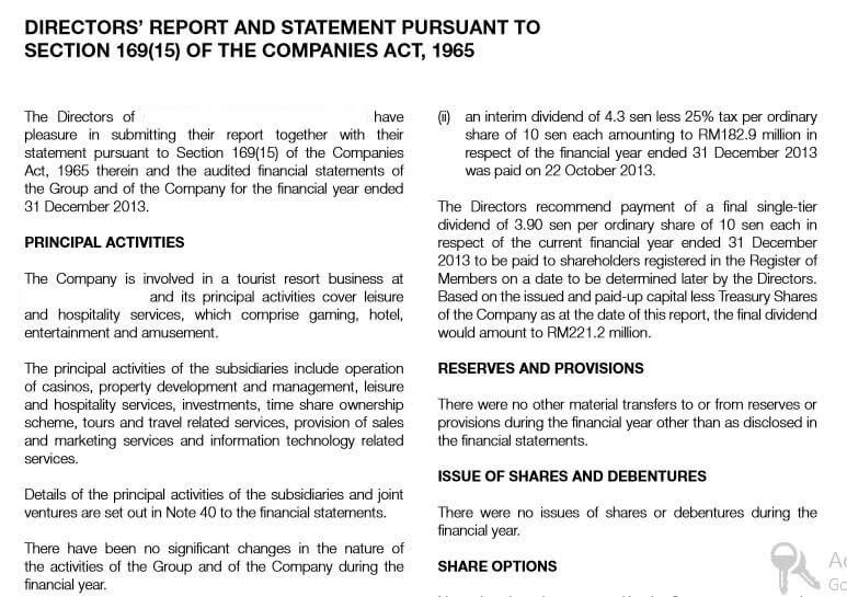 Directors report companies act 1965 pdf