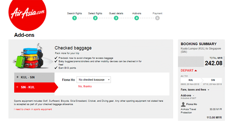 airasia baggage fee