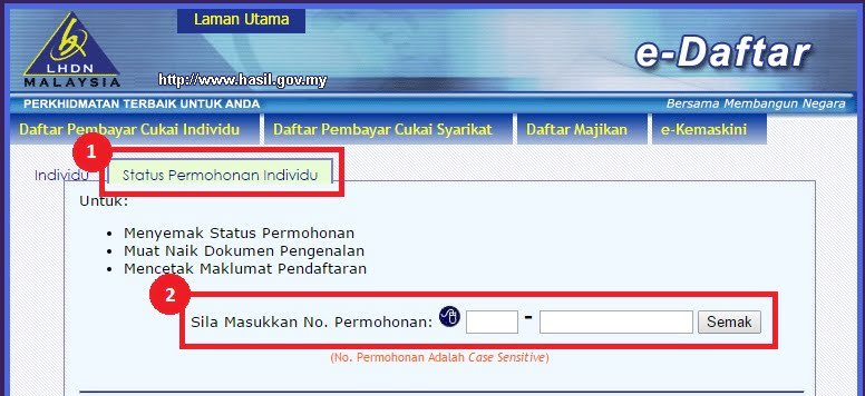 income tax application status