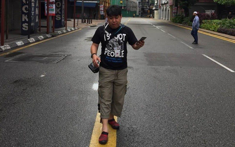 At the Bersih 5 rally with his trusty camera. Facebook pic courtesy of Kenny Loh.