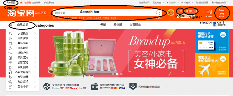 Taobao homepage overview in english