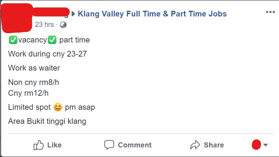 part time job waiter cny
