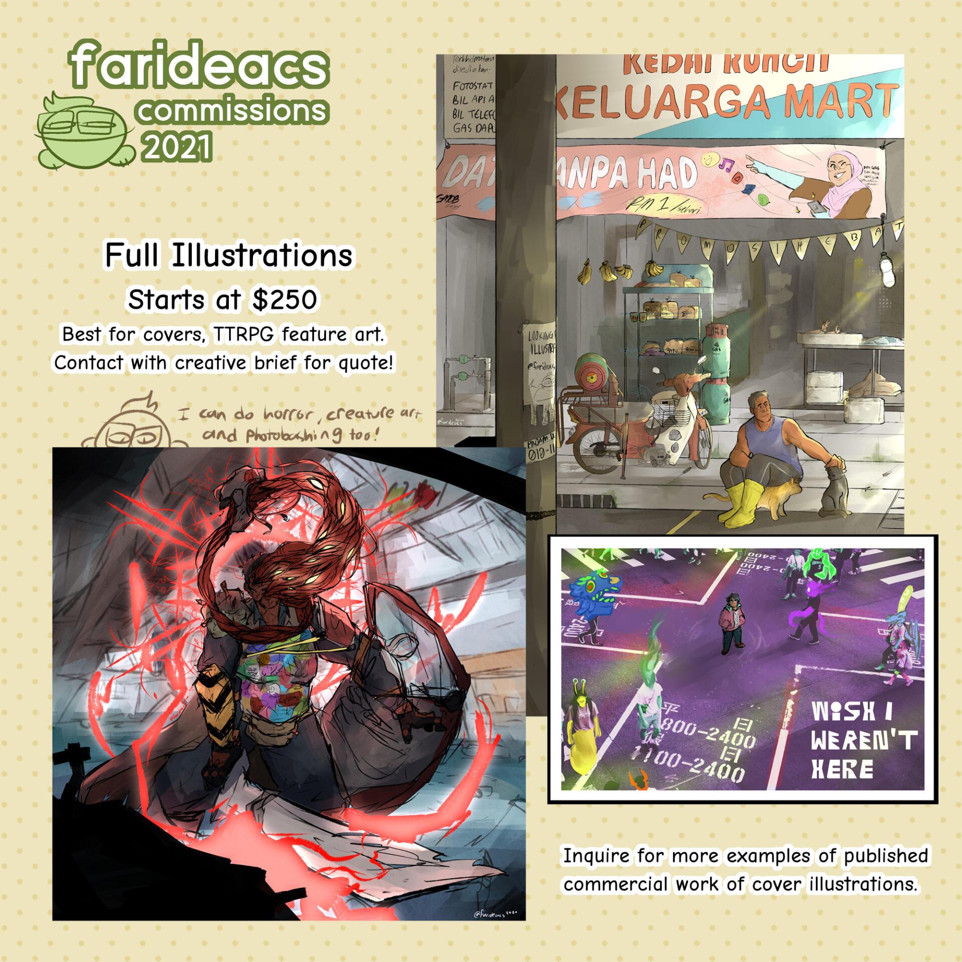 Farid's revenue streams include art commissions